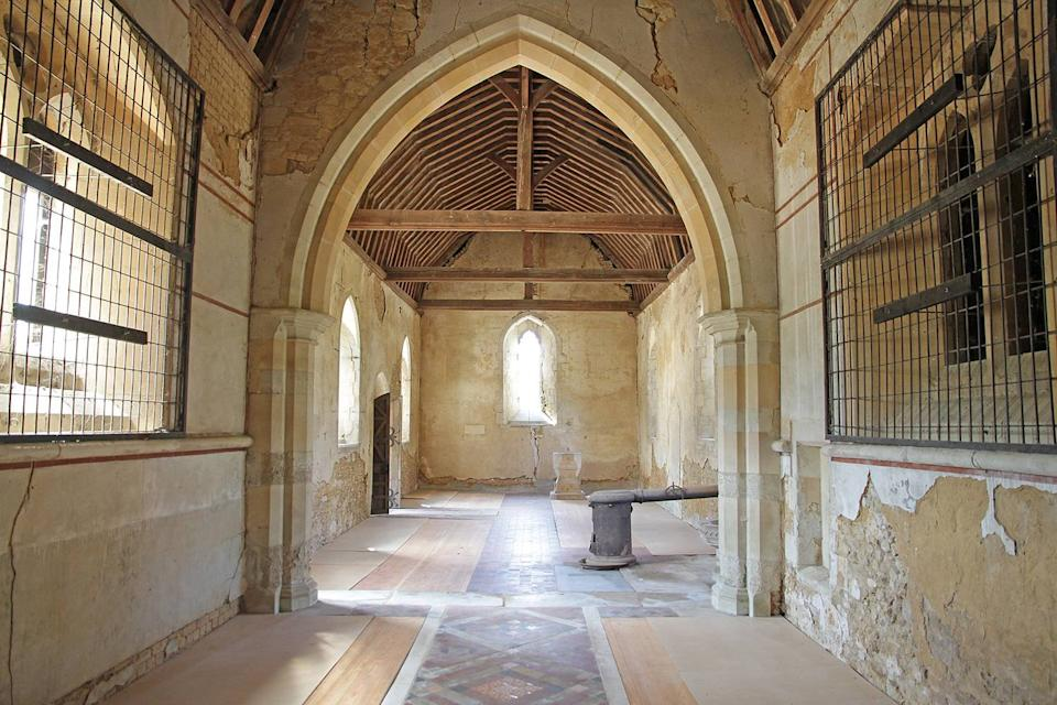 The restored chancel nave floor, looking towards the nave. (SWNS)