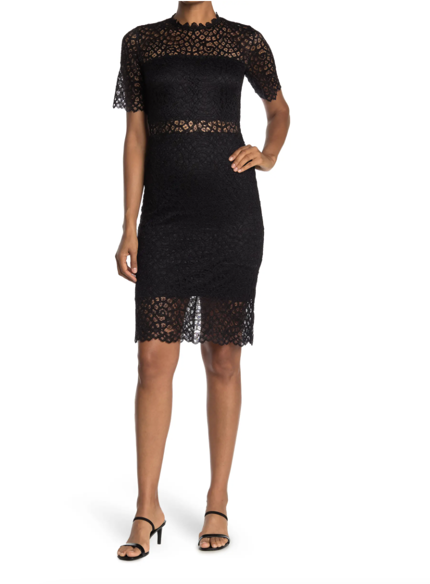 black lace Design Lace Sheer Panel Knee Length Dress with heels