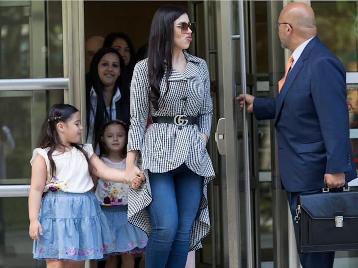 """Emma Coronel, wife of Mexican drug lord Joaquin """"El Chapo"""" Guzman, pictured with her daughters. AP Photo:Mary Altaffer"""