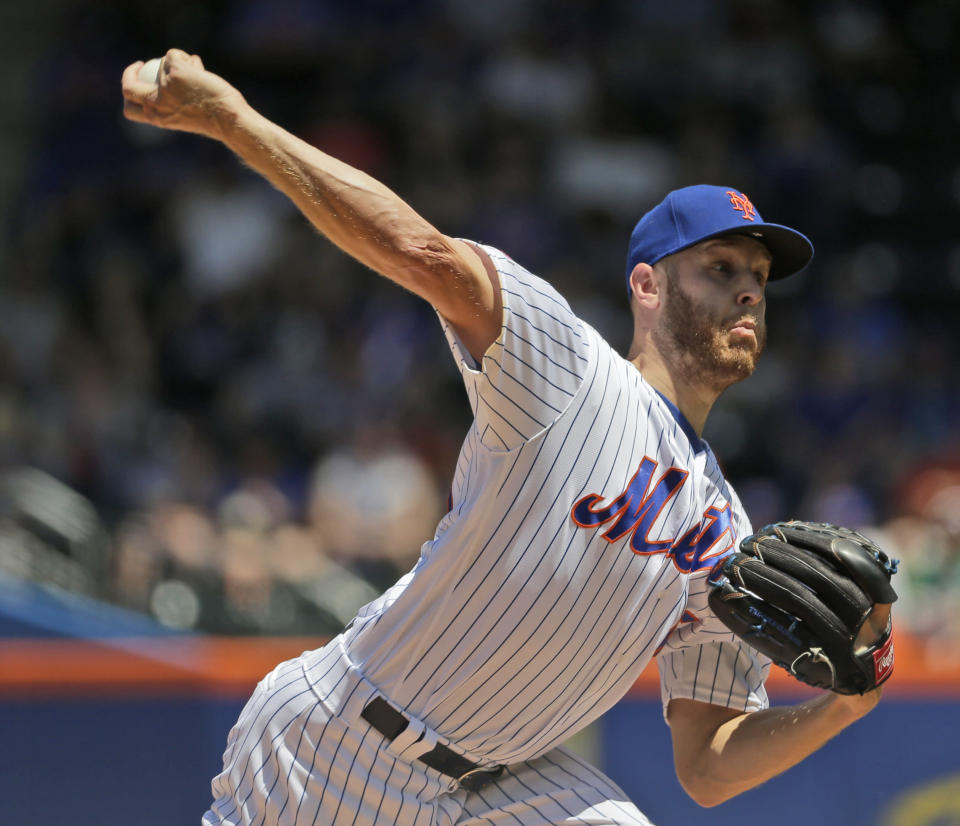 New York Mets starting pitcher Zack Wheeler throws during the first inning of a baseball game against the Detroit Tigers at Citi Field, Sunday, May 26, 2019, in New York. (AP Photo/Seth Wenig)