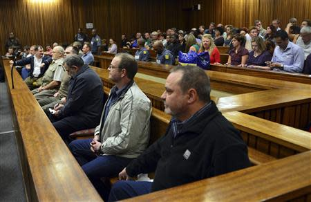 """Members of the right-wing """"Boeremag"""" wait ahead of their sentencing at Pretoria High Court"""
