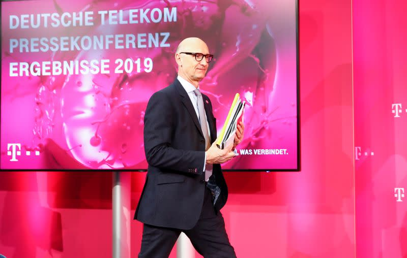 Hoettges, CEO of German telecommunications giant Deutsche Telekom AG at results news conference in Bonn