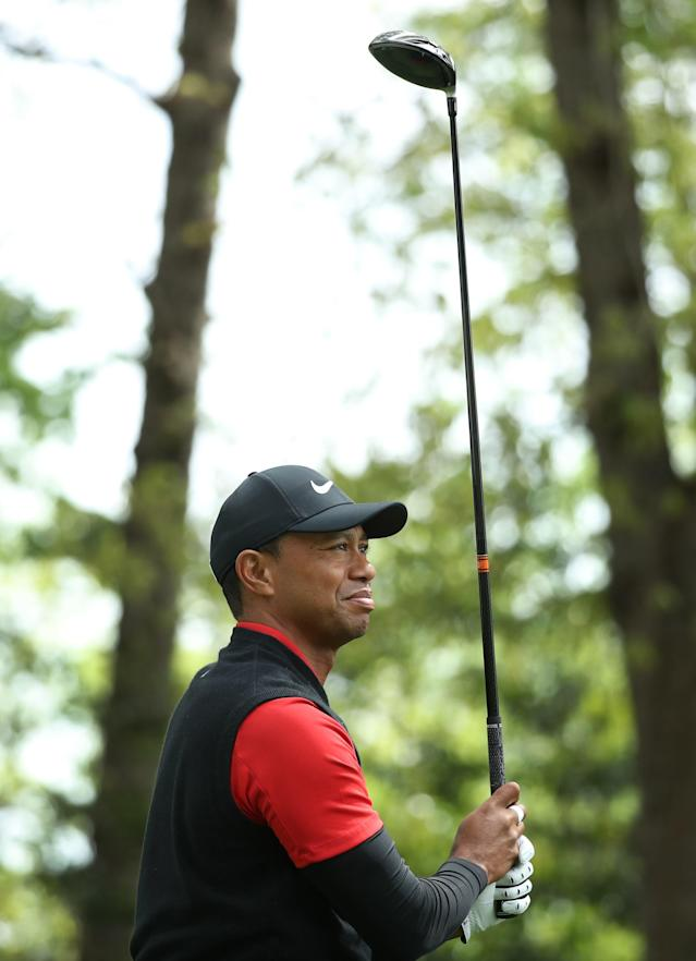 Tiger Woods of the U.S watches his drive off the second tee during final round play of the 2018 Masters golf tournament at the Augusta National Golf Club in Augusta, Georgia, U.S. April 8, 2018. REUTERS/Lucy Nicholson