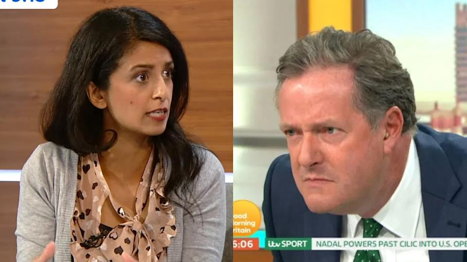 Piers Morgan was left baffled by Konnie Huq's references to beheading while discussing Brexit. (Credit: Channel 5/ITV)