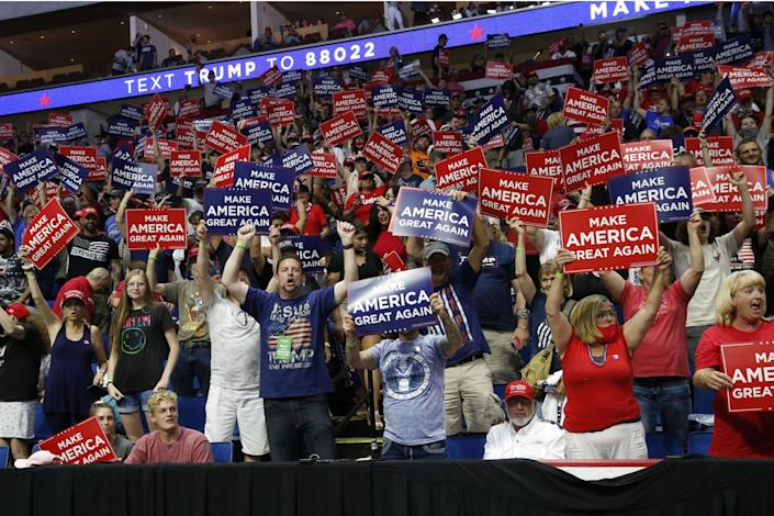 "Supporters of President Trump at his rally June 20 in Tulsa, Okla. <span class=""copyright"">(Sue Ogrocki/Associated Press)</span>"