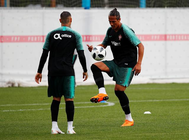 Soccer Football - World Cup - Portugal Training - Portugal Training Camp, Moscow, Russia - June 21, 2018 Portugal's Bruno Alves and Ricardo Quaresma during training REUTERS/Axel Schmidt