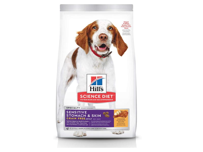 Hill's Science Diet Adult Sensitive Stomach & Skin Grain Free Chicken & Potato Recipe Dry Dog Food, 24 lb Bag. Image via Amazon