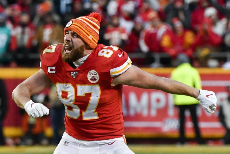 Kansas City Chiefs' Travis Kelce celebrates after the NFL AFC Championship football game against the Tennessee Titans Sunday, Jan. 19, 2020, in Kansas City, MO. The Chiefs won 35-24 to advance to Super Bowl 54. (AP Photo/Ed Zurga)