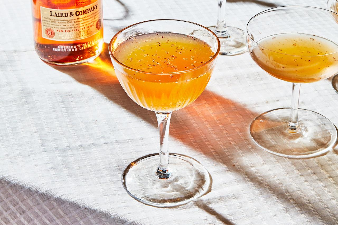 """<a href=""""https://lairdandcompany.com/"""">Laird's Applejack</a> is an inimitable apple brandy we like to reach for once fall rolls around. Here we use it to make some sours for an all-time best Thanksgiving pregame. They've got the apple, citrus, maple, and baking spice notes of the season with enough refreshment and punch to chill any remarks from combative relatives. <a href=""""https://www.bonappetit.com/recipe/applejack-sour?mbid=synd_yahoo_rss"""">See recipe.</a>"""