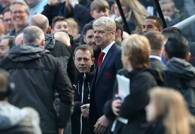 """Soccer Football - Premier League - Newcastle United vs Arsenal - St James' Park, Newcastle, Britain - April 15, 2018 Arsenal manager Arsene Wenger after the match REUTERS/Scott Heppell EDITORIAL USE ONLY. No use with unauthorized audio, video, data, fixture lists, club/league logos or """"live"""" services. Online in-match use limited to 75 images, no video emulation. No use in betting, games or single club/league/player publications. Please contact your account representative for further details."""