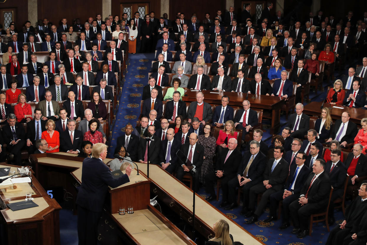 President Donald Trump delivers his State of the Union address to a joint session of Congress on Capitol Hill in Washington, Tuesday, Feb. 4, 2020. (J. Scott Applewhite/AP)
