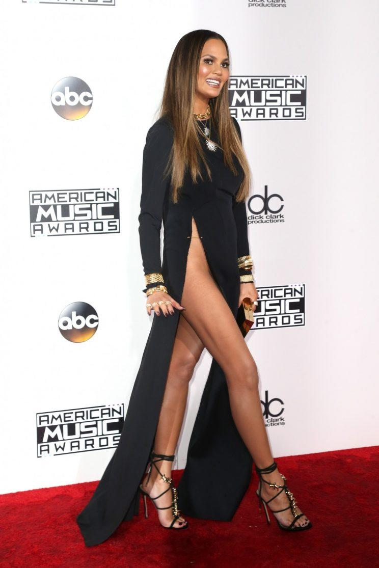 Chrissy Teigen showed a bit more than she bargained for at the 2016 AMAs [Photo: Getty]