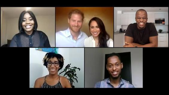 Prince Harry and Meghan joined four young leaders for the video call on 1 July (PA)