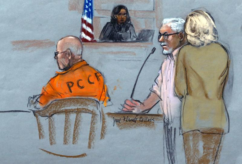 "In this courtroom sketch, Steven Davis, second right, brother of slain Debra Davis, is comforted by his wife, right, as he testifies at the sentencing hearing for James ""Whitey"" Bulger, left, at federal court in Boston, Wednesday, Nov. 13, 2013. Bulger was convicted in August in a broad indictment that included racketeering charges in a string of murders in the 1970s and '80s, as well as extortion, money-laundering and weapons charges. Jurors could not agree whether Bulger was involved in Debra Davis' killing. (AP Photo/Jane Flavell Collins)"