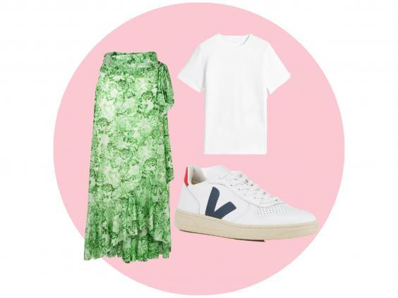 Green printed long skirt (24s, £69), white T-shirt (Uniqlo, £9.90), Vega trainers (Coggles, £115)
