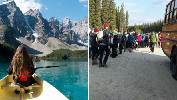 Starting this summer, the shuttle bus that runs from a park-and-ride lot east of the hamlet of Lake Louise up to the lakeshore and to nearby Moraine Lake, left, will be a reservation-only service.  (Paul Gorbould/Flickr CC, Chris Franklin/CBC - image credit)
