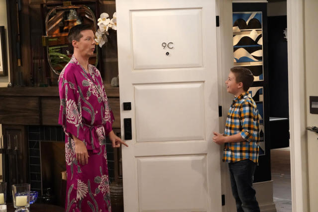 "Jack (Sean Hayes) discovers he's grandfather to Skip (Jet Jurgensmeyer) in the ""Grandpa Jack"" episode of <em>Will & Grace</em> (Photo: Chris Haston/NBC)"
