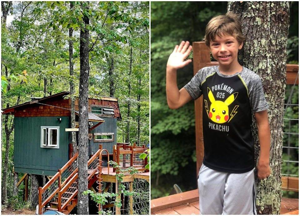 Eli's Treehouse, an Airbnb rental in North Carolina and its 9-year-old designer Eli Sylvester.