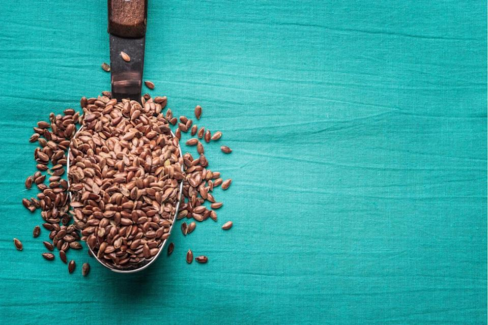 Flax seed = eggs: Similar to chia, flax seeds can be used to create an eggy consistency that works well for baking. Mix one tablespoon of ground flax seed with three tablespoons of water and wait until fully absorbed. This stands in place of one egg.