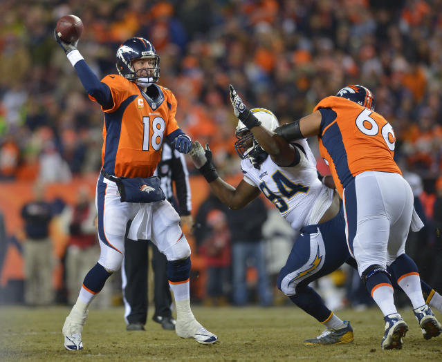 Denver Broncos quarterback Peyton Manning (18) passes under pressure from San Diego Chargers defensive end Corey Liuget (94) in the first quarter of an NFL football game, Thursday, Dec. 12, 2013, in Denver. (AP Photo/Jack Dempsey)