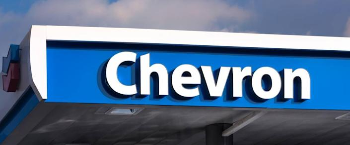 Chervon gas station canopy and sign.