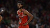 Chicago Bulls' Coby White (0) looks on during the second half of an NBA basketball game against the Cleveland Cavaliers Tuesday, March 10, 2020, in Chicago. Chicago won 108-103. (AP Photo/Paul Beaty)