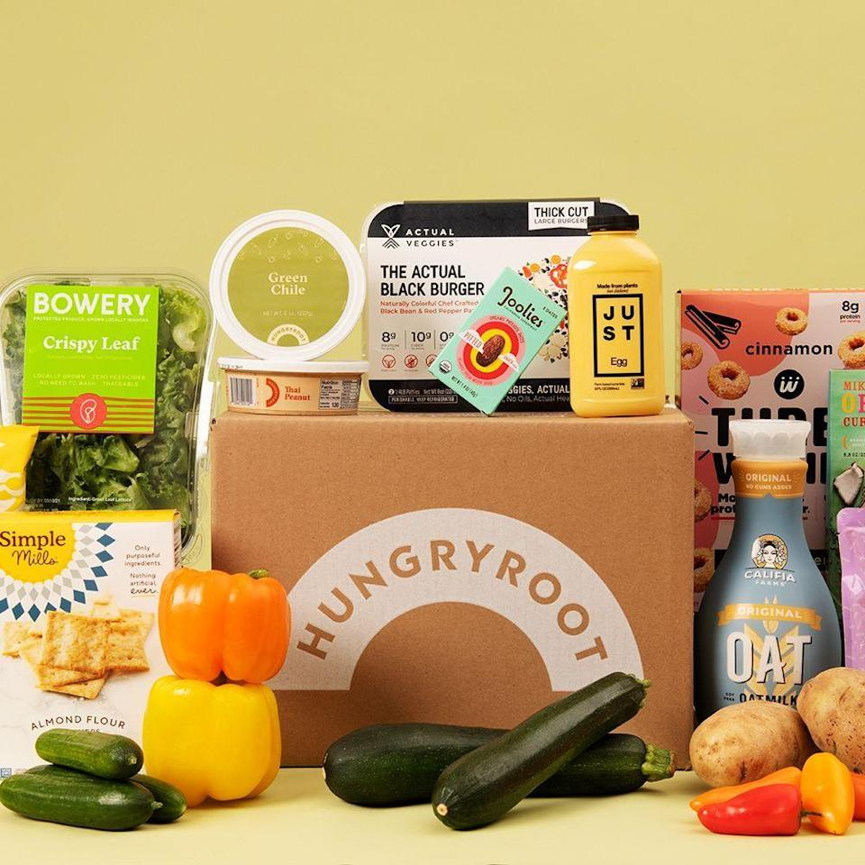 """<p><strong>Hungry Root</strong></p><p>hungryroot.com</p><p><a href=""""https://go.redirectingat.com?id=74968X1596630&url=https%3A%2F%2Fwww.hungryroot.com%2F&sref=https%3A%2F%2Fwww.bestproducts.com%2Feats%2Ffood%2Fg37107667%2Fvegan-meal-delivery-services%2F"""" rel=""""nofollow noopener"""" target=""""_blank"""" data-ylk=""""slk:Shop Now"""" class=""""link rapid-noclick-resp"""">Shop Now</a></p><p><em>Plans start at $60</em></p><p>This AI-powered grocery service helps you find some of the best vegan pantry staples, proteins, and fresh produce in just a few clicks. When you sign up, you'll fill out a brief survey on your eating habits, food preferences, household size, etc., and the machine learning will take over from there to make grocery shopping speedy and simple. Plans start at $60.</p><p>On the site, you can also search for chef-created recipes with the vegan filter <a href=""""https://go.redirectingat.com?id=74968X1596630&url=https%3A%2F%2Fwww.hungryroot.com%2Frecipes%2F&sref=https%3A%2F%2Fwww.bestproducts.com%2Feats%2Ffood%2Fg37107667%2Fvegan-meal-delivery-services%2F"""" rel=""""nofollow noopener"""" target=""""_blank"""" data-ylk=""""slk:here"""" class=""""link rapid-noclick-resp"""">here</a> and order everything you need for dinners like plant-based smoky chorizo and squash tacos or coconut curry tofu wraps.</p><p>You can narrow your search by serving sizes, cook time, and other preferences to get the exact kind of meals you want to be delivered straight to your door. Recipe offerings include stir-fries, pasta, tacos, burgers, grain bowls, wraps, and more, and most recipes will get you fed in about 15 minutes or less.</p>"""