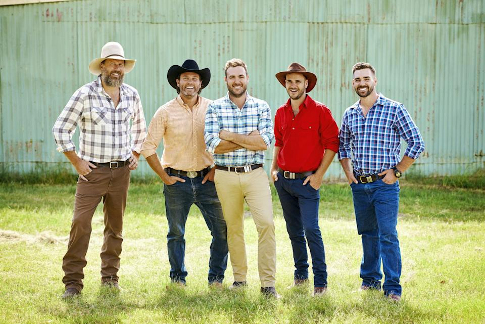 A photo of the the five male farmers from Farmer Wants A Wife 2021: (from left) Rob, Will, Andrew, Matt and Sam. Photo: Channel Seven (supplied).