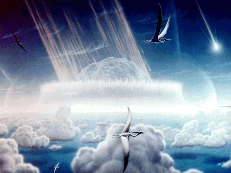 An artists impression of the Chicxulub asteroid which is believed to have wiped out the dinosaurs: Rex