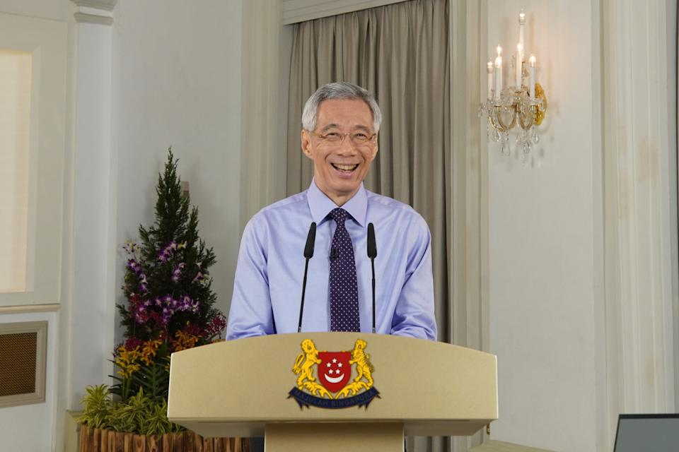 PM Lee Hsien Loong delivers an update on the COVID-19 situation in Singapore on 14 December, 2020. (PHOTO: MCI)