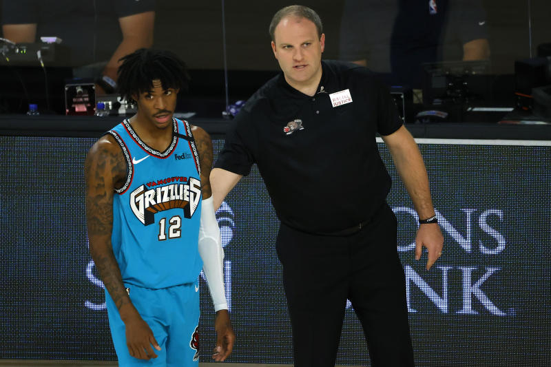 Memphis Grizzlies rookie Ja Morant and head coach Taylor Jenkins