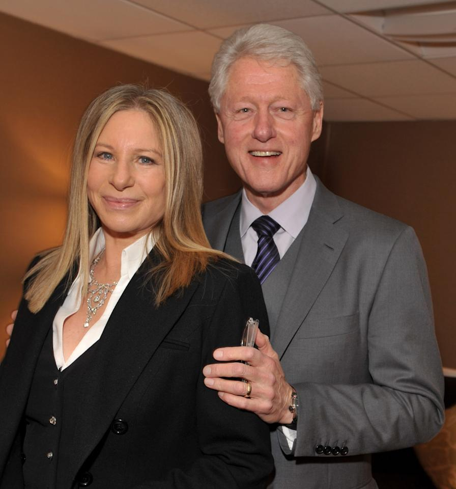Actress/singer Barbra Streisand (L) and President Bill Clinton pose backstage at the 2011 Public Counsel's Annual Event Honoring President Bill Clinton held at The Beverly Hilton Hotel on March 18, 2011 in Beverly Hills, California. (Photo by Lester Cohen/WireImage)
