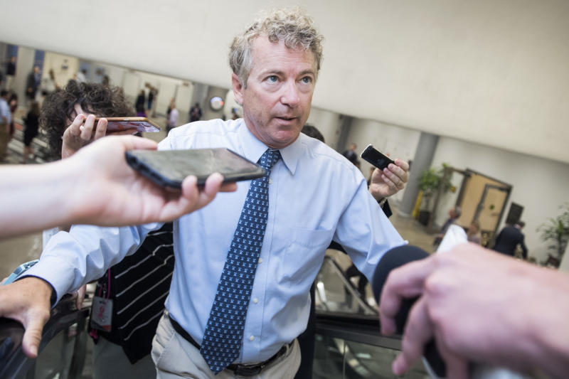 UNITED STATES - JUNE 5: Sen. Rand Paul, R-Ky., talks with reporters during a vote in the Capitol on Wednesday, June 5, 2019. (Photo By Tom Williams/CQ Roll Call)