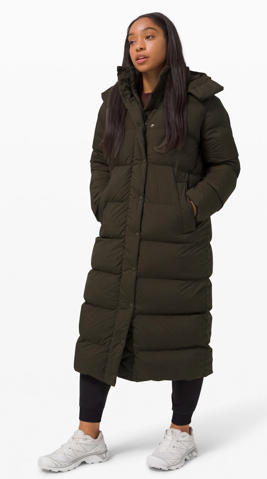Wunder Puff Jacket Long in Dark Olive (Photo via Lululemon Athletica)