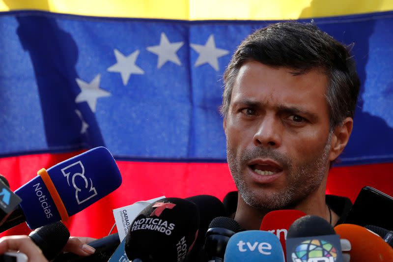 Venezuelan opposition leader Leopoldo Lopez talks to the media at the residence of the Spanish ambassador in Caracas