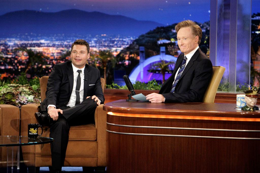"""Ryan Seacrest helped Conan end the week on a high note when he revealed that he overcame adversity to get where he is today. """"I was a fat kid,"""" shared Seacrest. """"I used to come home and make a cookie sheet of nachos ... and sit down just in time to see Oprah everyday."""" Paul Drinkwater/NBC - June 5, 2009"""