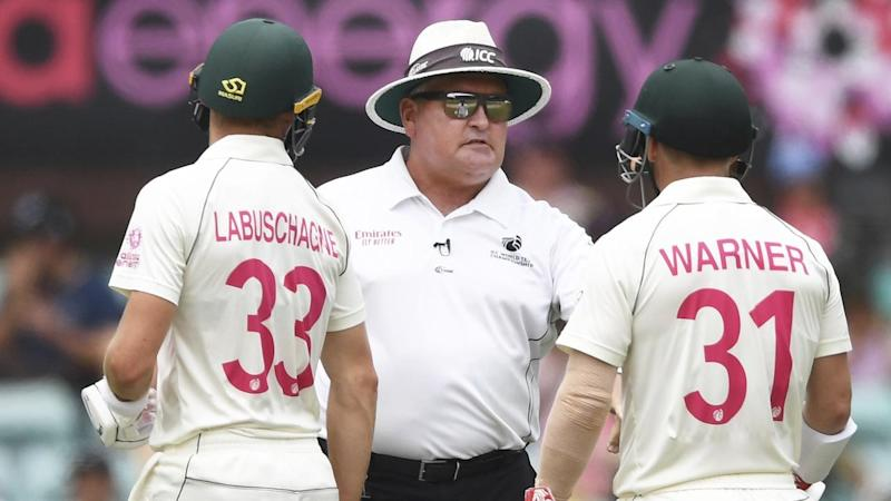 Australia's Marnus Labuschagne and David Warner were reprimanded for running on the SCG pitch