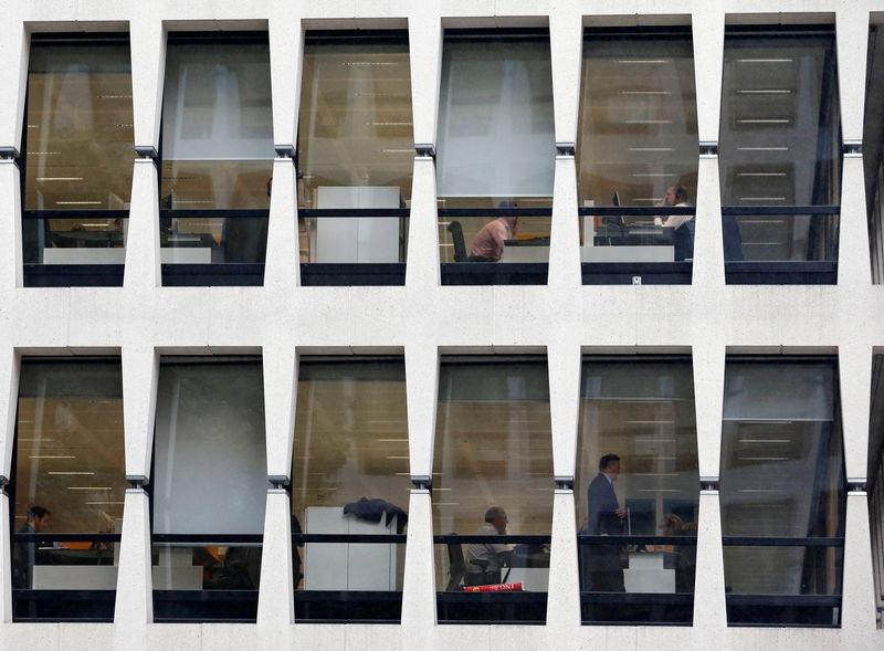 ING bank employees are pictured inside the group's main office in Brussels