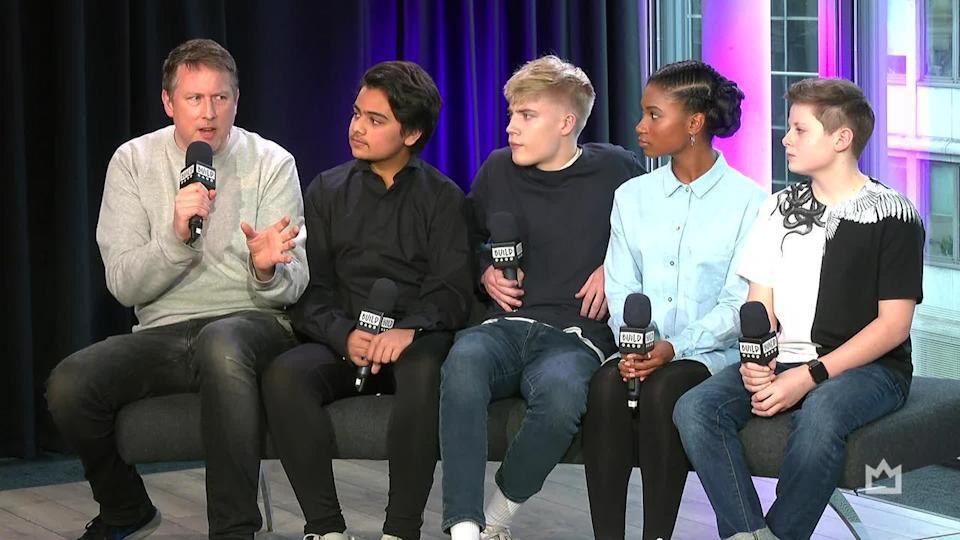 Joe Cornish, Director of 'The King Who Would Be King' alongside the cast; Louis Ashbourne Serkis, Dean Chaumoo, Rhianna Dorris & Tom Taylor (Credit: Build)