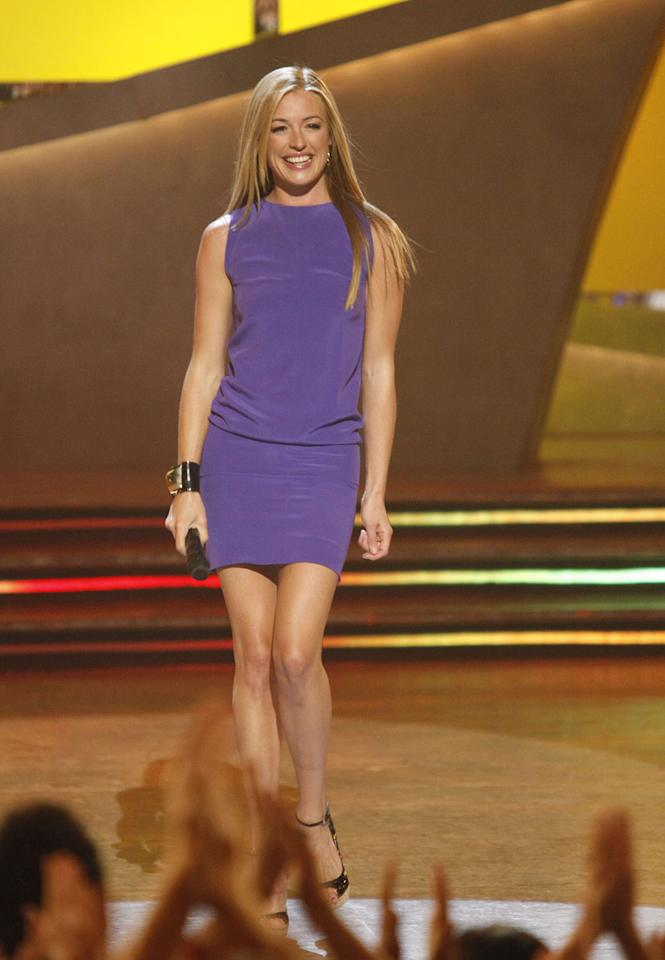 "<a href=""/cat-deeley/contributor/2212390"">Cat Deeley</a> wore a Balenciaga dress for the Top 6 performance show of Season 5 of <a href=""/so-you-think-you-can-dance/show/36160"">""So You Think You Can Dance.""</a> She paired the purple number with DSquared2 platforms and a Mulberry cuff."