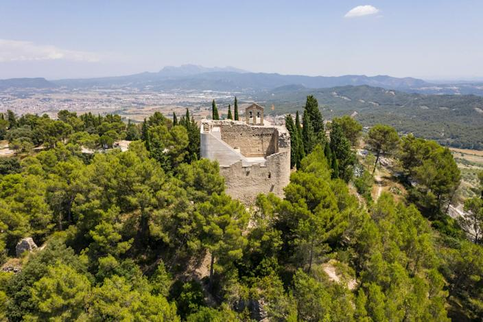 Aerial view of the renovated Castell de la Tossa reveals just how much nature surrounds it.