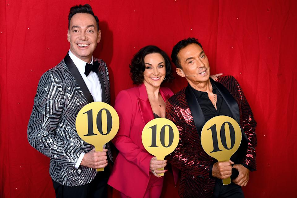 Craig Revel Horwood, Shirley Ballas and Bruno Tonioli during the opening night of the Strictly Come Dancing Arena Tour 2020 at Arena Birmingham on January 16, 2020 in Birmingham, England. (Photo by Dave J Hogan/Getty Images)