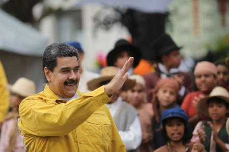 Venezuela's President Nicolas Maduro attends an event with supporters at Plaza Bolivar square in downtown Caracas, Venezuela February 1, 2018. Miraflores Palace/Handout via REUTERS