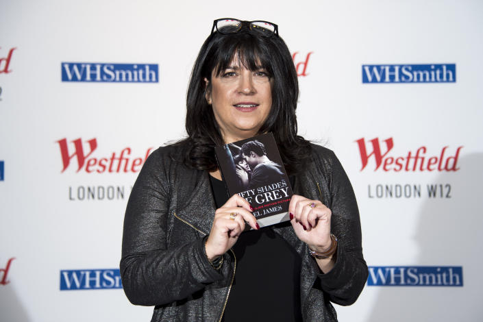 Author E.L. James signs copies of her books at Westfield in Shepherd's Bush, London.
