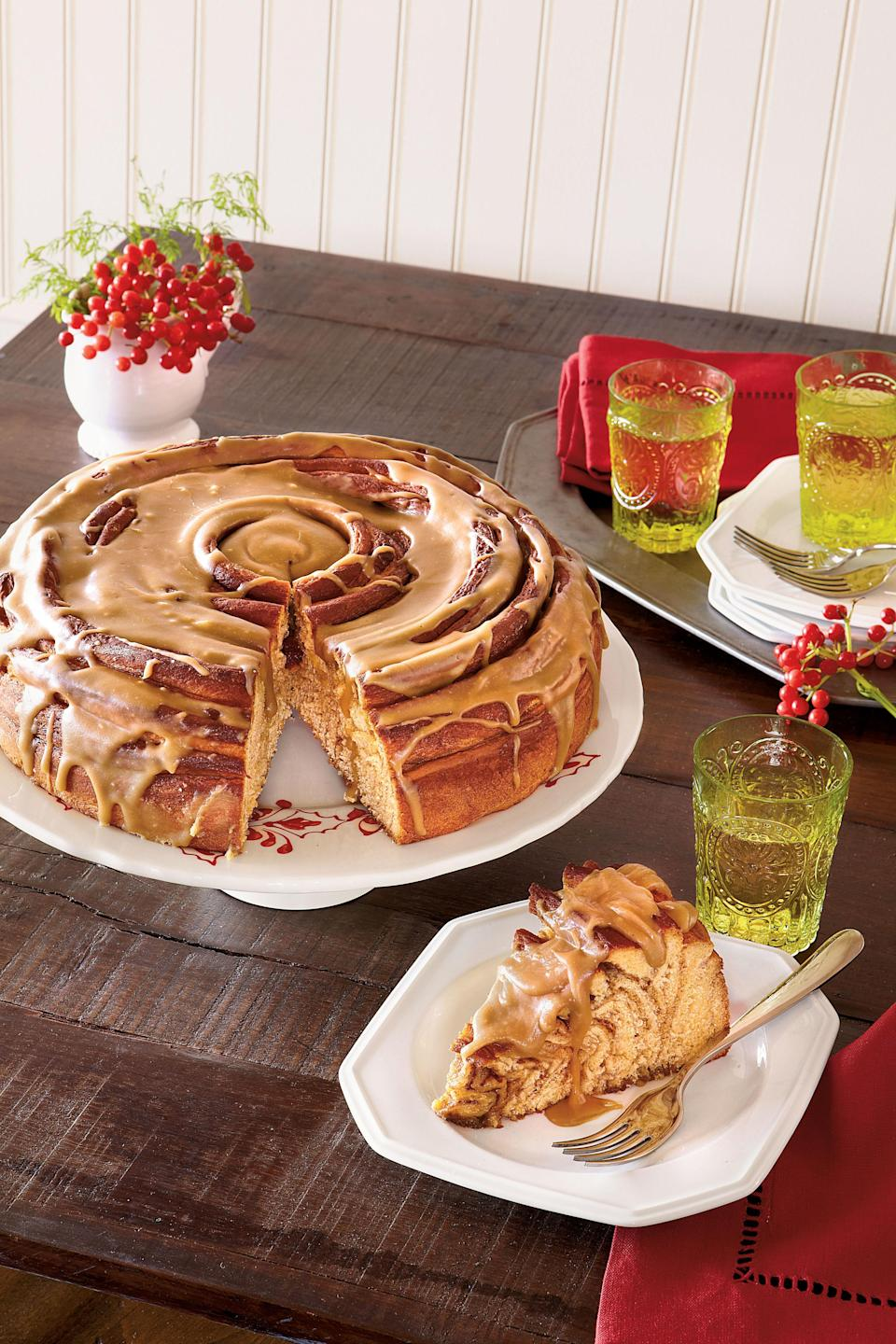 """<p><strong>Recipe:</strong> <a href=""""http://www.myrecipes.com/recipe/sweet-potato-coffee-cake-50400000117946/"""" rel=""""nofollow noopener"""" target=""""_blank"""" data-ylk=""""slk:Sweet Potato Coffee Cake with Caramel Glaze"""" class=""""link rapid-noclick-resp""""><strong>Sweet Potato Coffee Cake with Caramel Glaze</strong></a></p> <p>Sweet potato, orange zest, and ground cinnamon offer flavors of the season in this morning treat. Top it all off with a drizzle of <a href=""""http://www.myrecipes.com/recipe/caramel-glaze-50400000117947/"""" rel=""""nofollow noopener"""" target=""""_blank"""" data-ylk=""""slk:Caramel Glaze"""" class=""""link rapid-noclick-resp"""">Caramel Glaze</a>.</p>"""