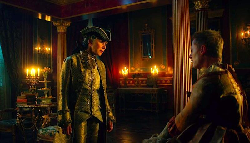 Helen Mirren as Catherine the Great and Richard Roxburgh as Grigory Orlov in Catherine the Great