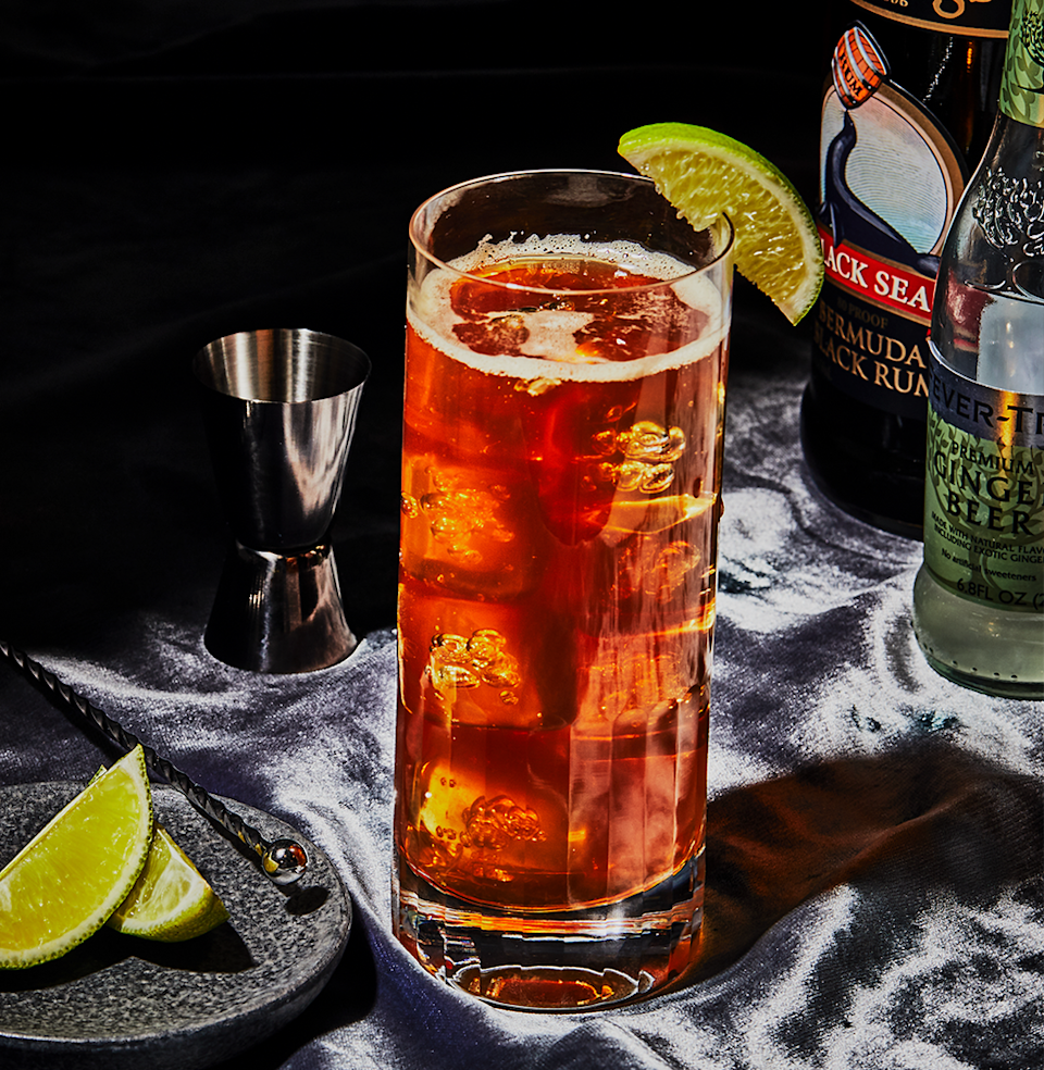 """<p><em>Easy to make and delightfully spicy. Don't swap ginger ale for ginger beer.</em></p><p><strong>Ingredients</strong></p><p>• 2 oz. dark rum<br>• 3 oz. ginger beer<br>• 1/2 oz. lime juice (optional) </p><p><strong>Directions</strong></p><p>Fill a tall glass with ice cubes. Add rum. Pour in ginger beer and lime juice. Stir with a barspoon. Garnish with a lime wedge.</p><p><a class=""""link rapid-noclick-resp"""" href=""""https://www.esquire.com/food-drink/drinks/recipes/a3747/dark-and-stormy-drink-recipe/"""" rel=""""nofollow noopener"""" target=""""_blank"""" data-ylk=""""slk:Read More"""">Read More</a></p>"""