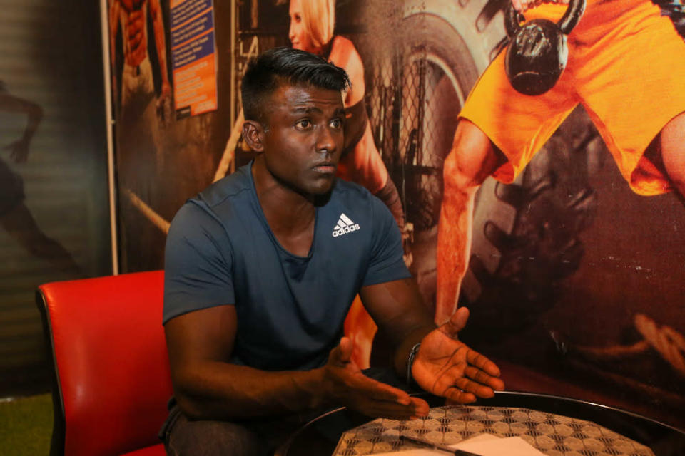 Fitness Lifestyle Gym owner V. Sam Pakiaraj speaks during an interview at his gym in Desa Rishah, Ipoh September 1, 2021. — Picture by Farhan Najib