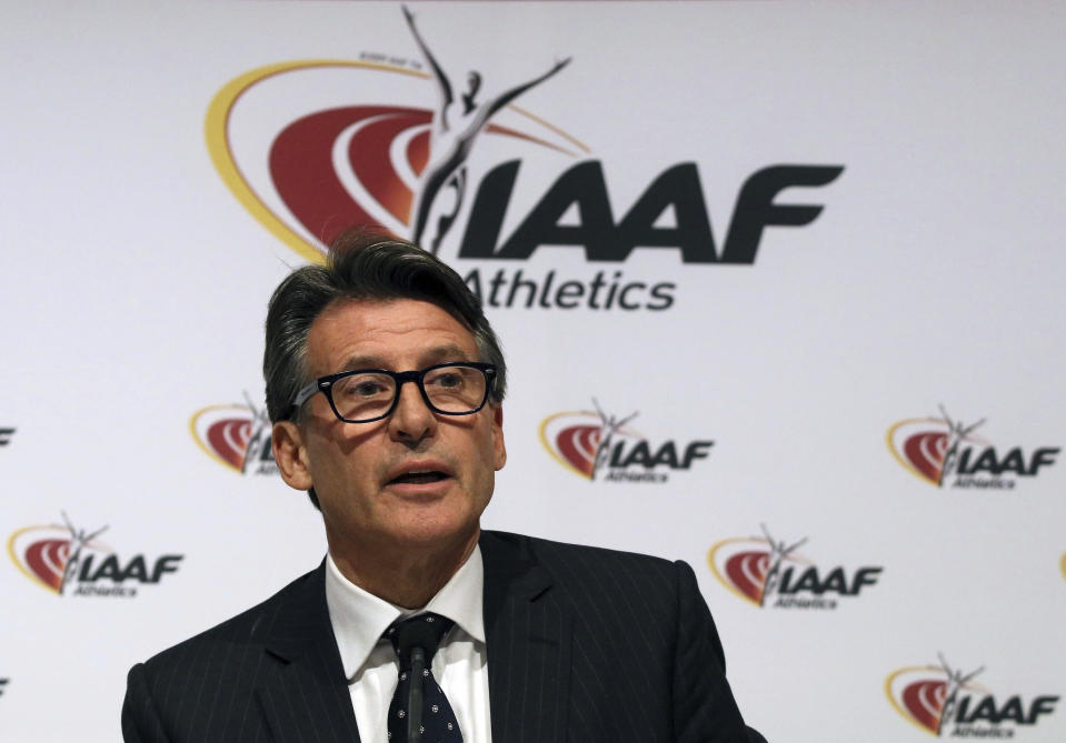FILE - In this June 17, 2016 file photo, IAAF President Sebastian Coe speaks during a news conference after a meeting of the IAAF Council at the Grand Hotel in Vienna, Austria. Virtually every major executive and organization in the sport, including USA Track and Field, and its president, Vin Lananna, and World Athletics president Sebastian Coe, and former USATF head Craig Masback either has, or once had, some strong connection to Nike. (AP Photo/Ronald Zak, File)