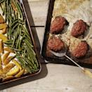 """<p>This healthy meatloaf recipe and side dishes are all made in the oven on two sheet pans so that everything's ready for the dinner table at the same time. The potatoes go into the oven first to start roasting while the mini meatloaves and green beans are prepped and added to the oven partway through. <a href=""""http://www.eatingwell.com/recipe/253043/mini-meatloaves-with-green-beans-potatoes/"""" rel=""""nofollow noopener"""" target=""""_blank"""" data-ylk=""""slk:View recipe"""" class=""""link rapid-noclick-resp""""> View recipe </a></p>"""
